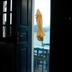 Open door on Santorini