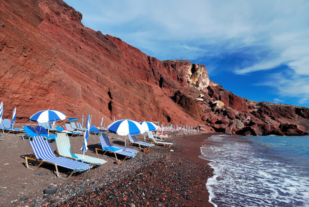 ed Beach is one of the most beautiful and famous beaches of Santorini. Greece
