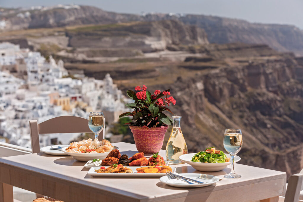 Romantic dinner with view of the caldera in Santorini, Cyclades Greece