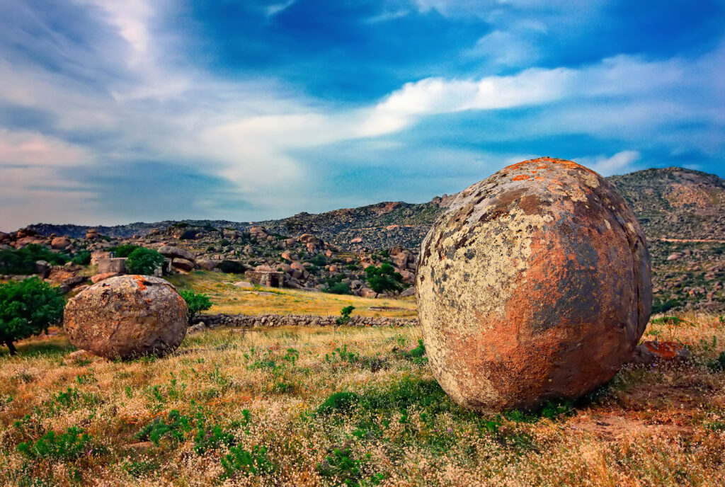 Tinos island Cyclades Greece Surreal landscape with huge, round and smooth rocks close to Volax (or Volakas) village