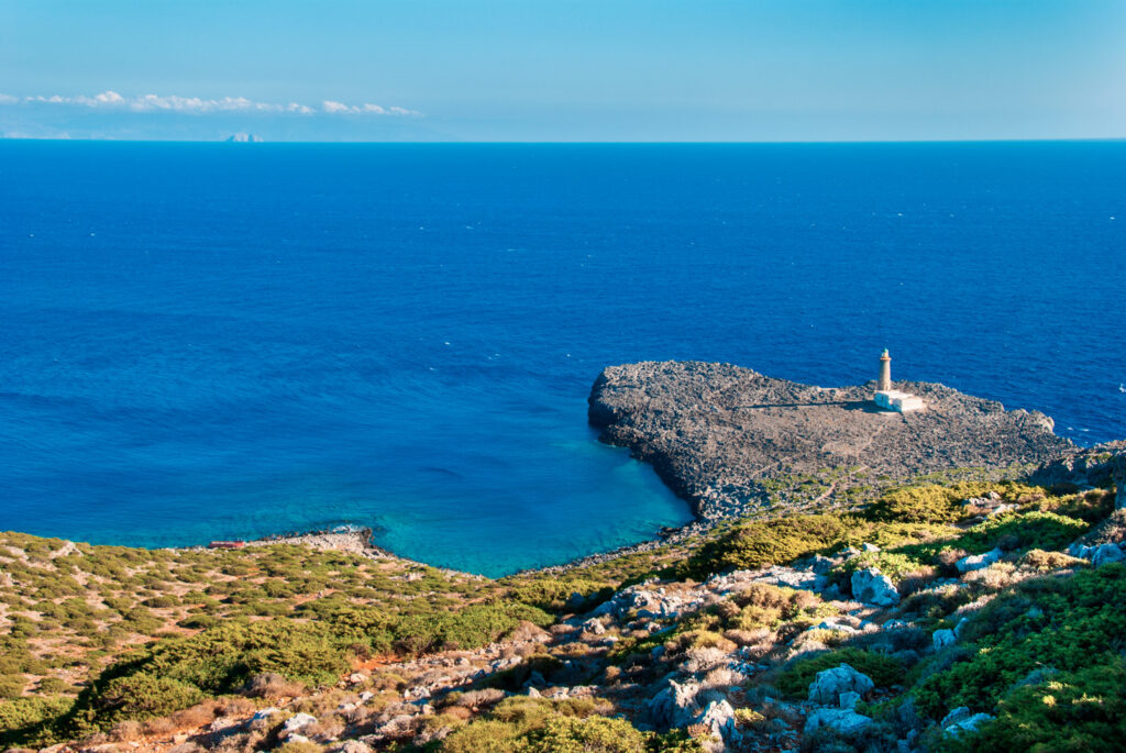 Lighthouse of Cape Apolytaras in Antikythera, a remote island between Kythira and Crete, Greece
