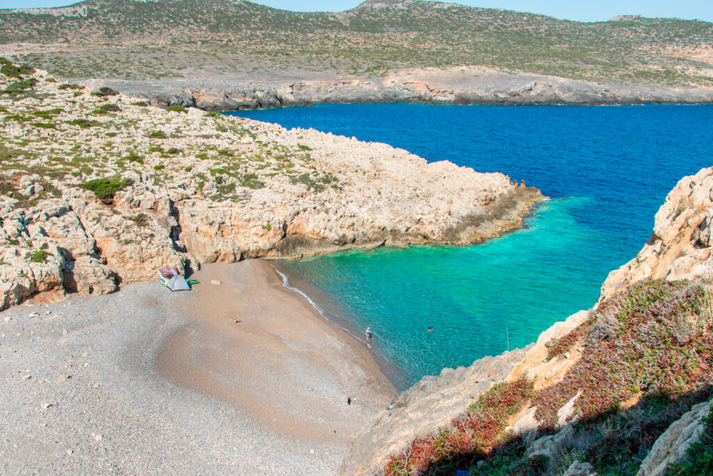 Xeropotamos beach in Antikythera, a remote island between Kythira and Crete, Greece