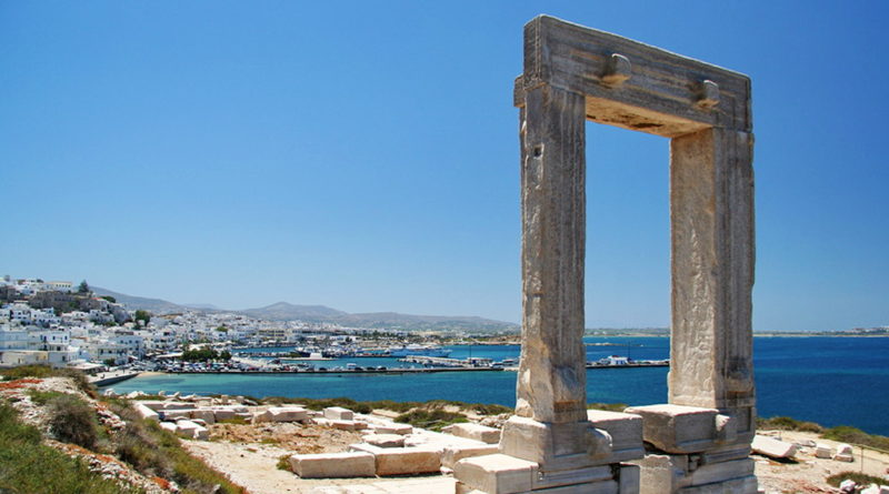 Portara Gate at Naxos port - Photo by S. Lambadaridis
