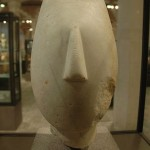 Head of marble figurine, Spedos type, found on Keros island, now at Louvre, Paris