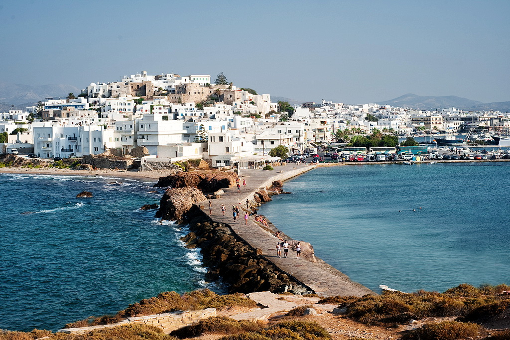 Overview of the Old Town of Naxos, seen from Portara