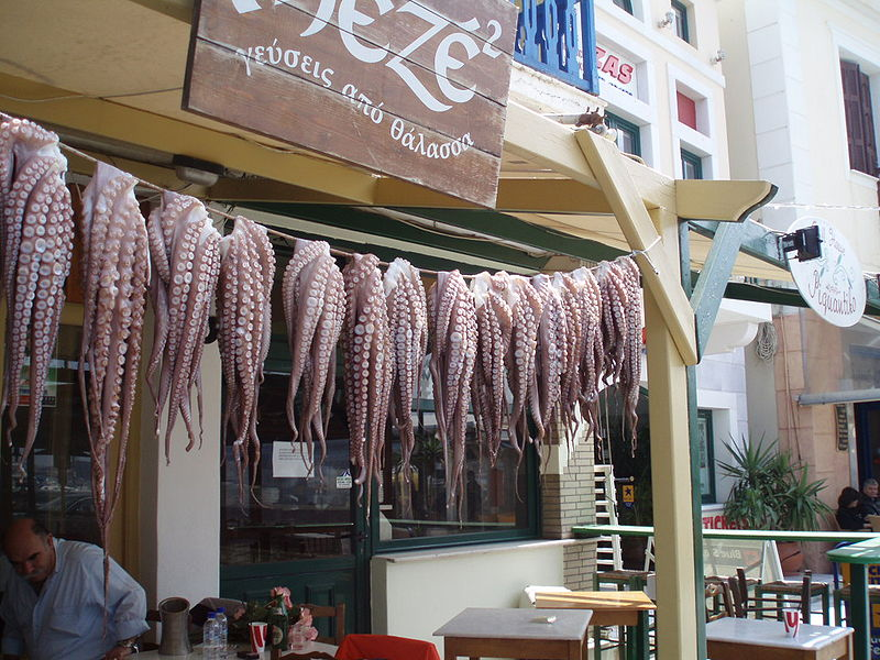 Squids drying in the sun at Naxos port