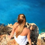 girl with view on edge of cliffs, Zante