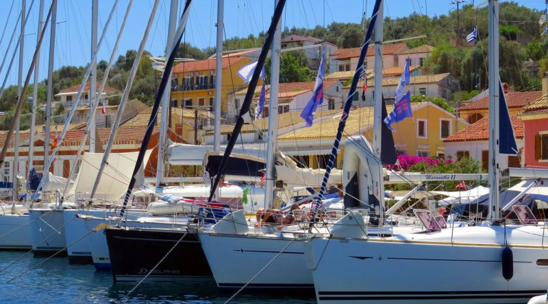 Sailboat marine in Paxos Island, Greece
