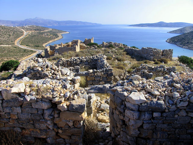 The ancient fortress above Livadi Beach, Iraklia, Smaller Cyclades