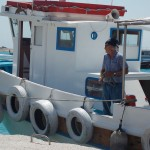 Captain Kostas Prasinos on one of his boats