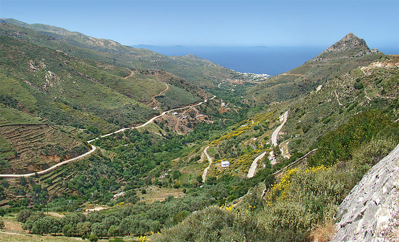 Landscape around Mesi in the northern part of Naxos near Apollonas