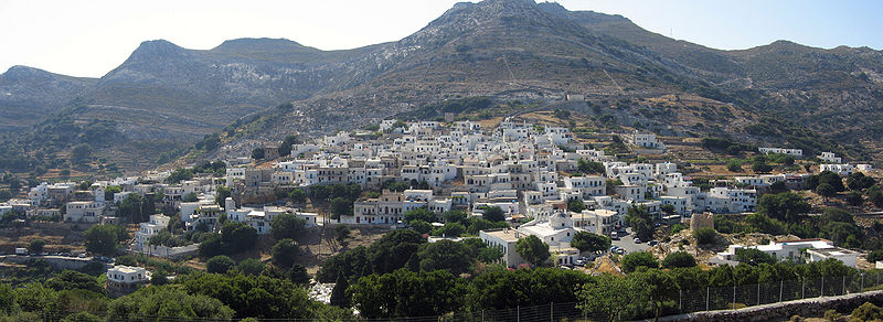 Panoramic view of Apiranthos from the East, Naxos inland, Cyclades