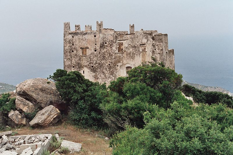 Venetian Tower Agias in the north of Naxos island