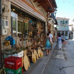 Street of Arachova with stores and shops