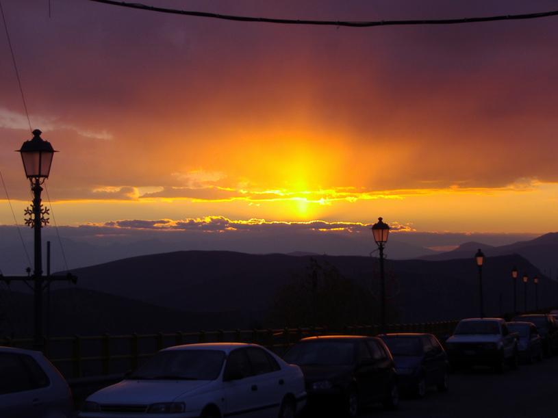 Arachova at sunset