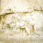 Funerary relief for Athenian footman Pancahres, likely to have fallen at the battle of Chaeronea.