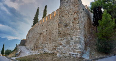 Medieval castle of Lamia city located on a hill dominating the city of Lamia in central Greece