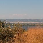 Lysimachia Lake, Etoloakarnania, Greece - View upon the lake - city of Agrinio in the background