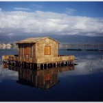 Traditional Messolonghi stilt house in the lagoon