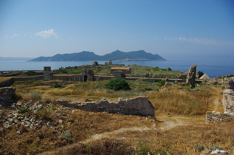 View above ancient Methoni towards Sapientza island, Messenia, Greece