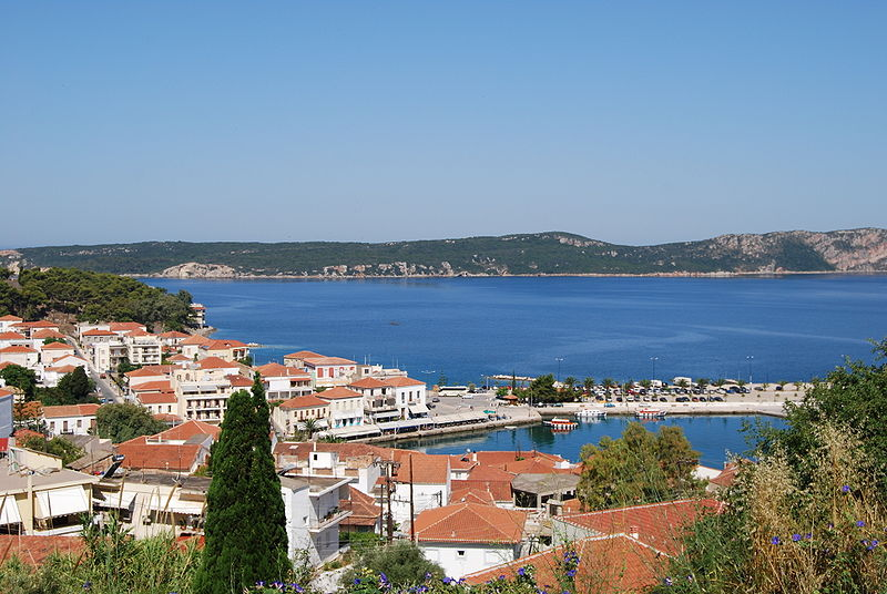 View of Pylos from the East; inner port, bay of Navarino and Sfaktiria