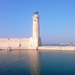 Lighthouse at Rethymno habour, Crete, Greece