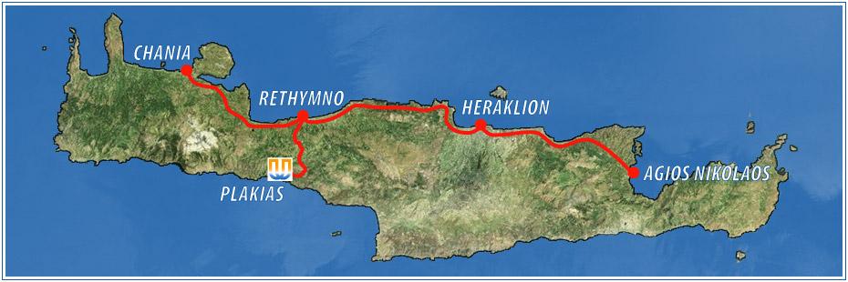 Map showing Plakias, Crete