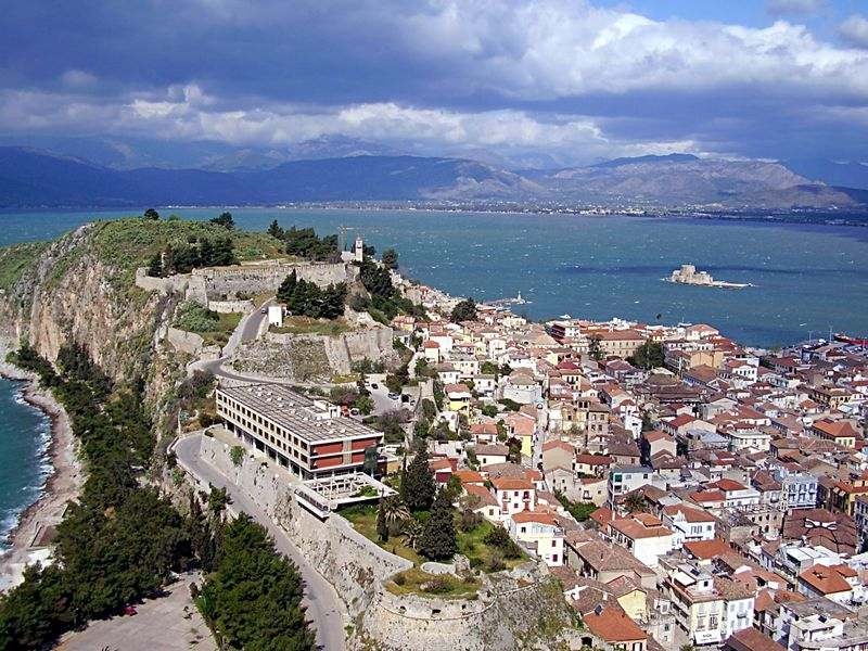 Nafplion - view from Palamidi Castle upon Akronauplia