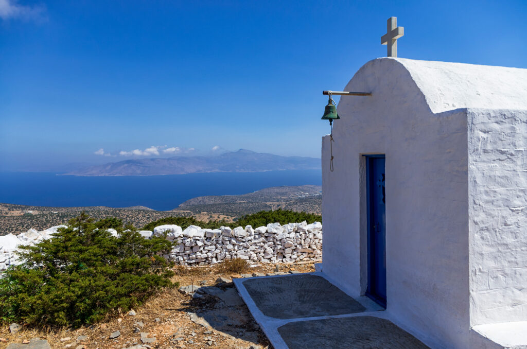 Chapel of Prophet Elias situated on the highest point in Iraklia, Smaller Cyclades Greece