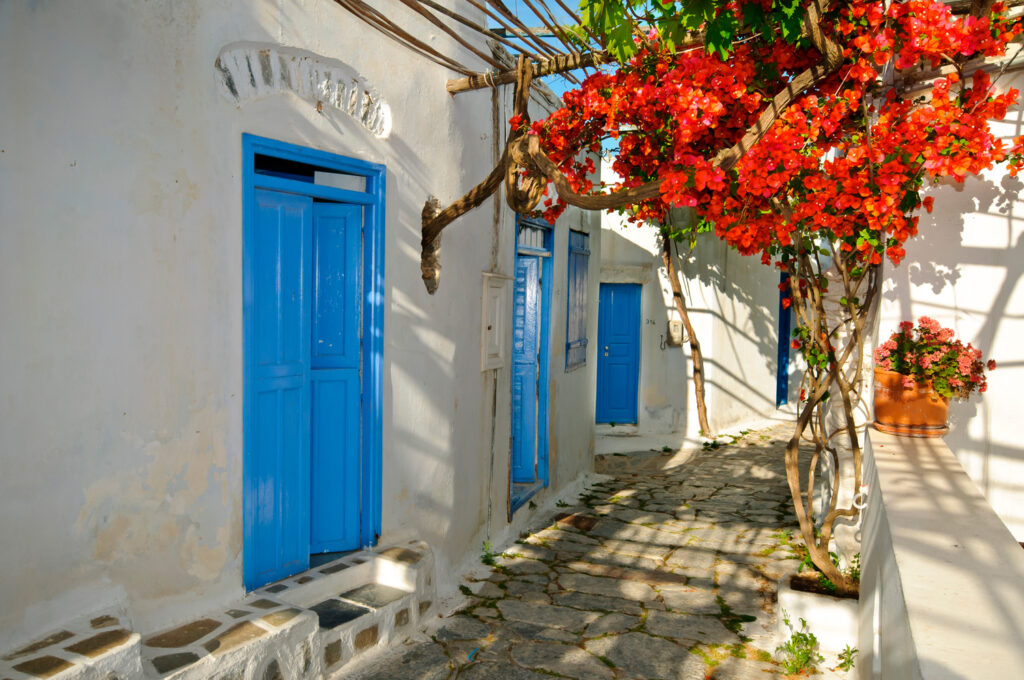 beautiful traditional alley in Panagia Iraklia Smaller Cyclades Greece