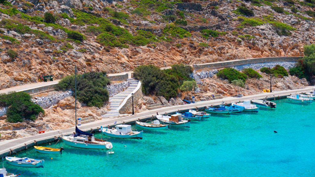 Small port in Iraklia island, Smaller Cyclades Greece