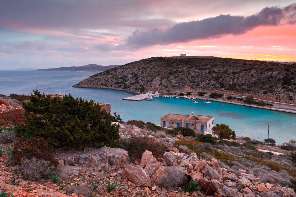 View of the port of Agios Georgios in Iraklia island Smaller Cyclades Greece