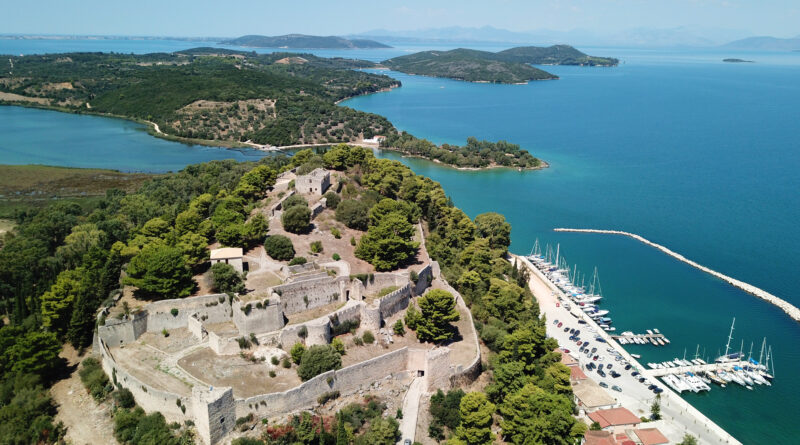 View of iconic castle and city of Vonitsa Etolo Akarnania Greece