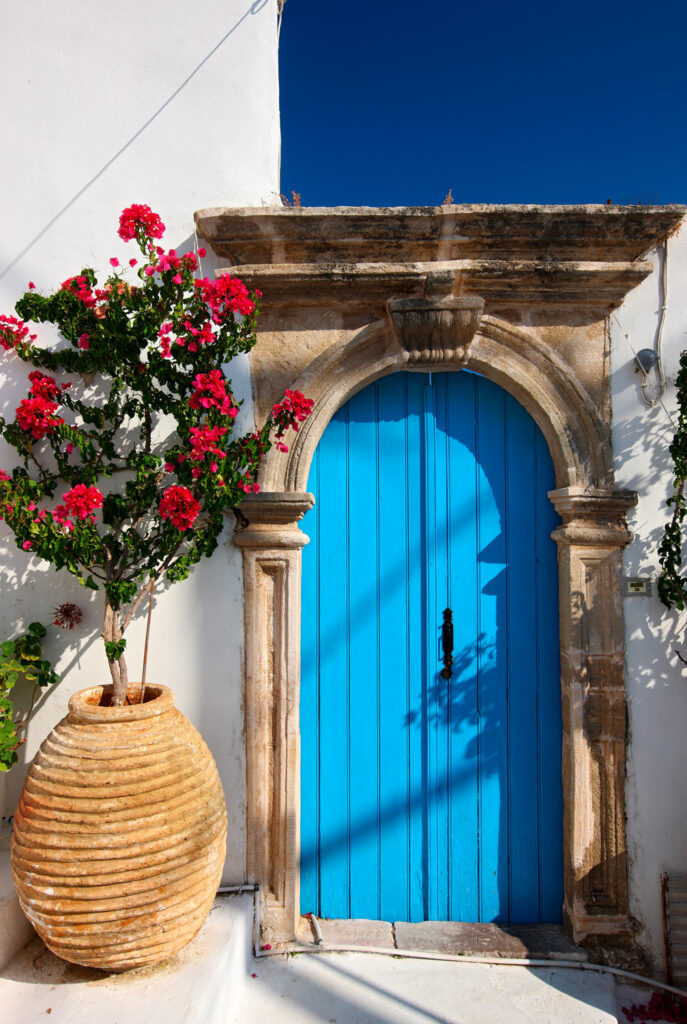 Blue door in Chora, the capital of Kythira island Greece