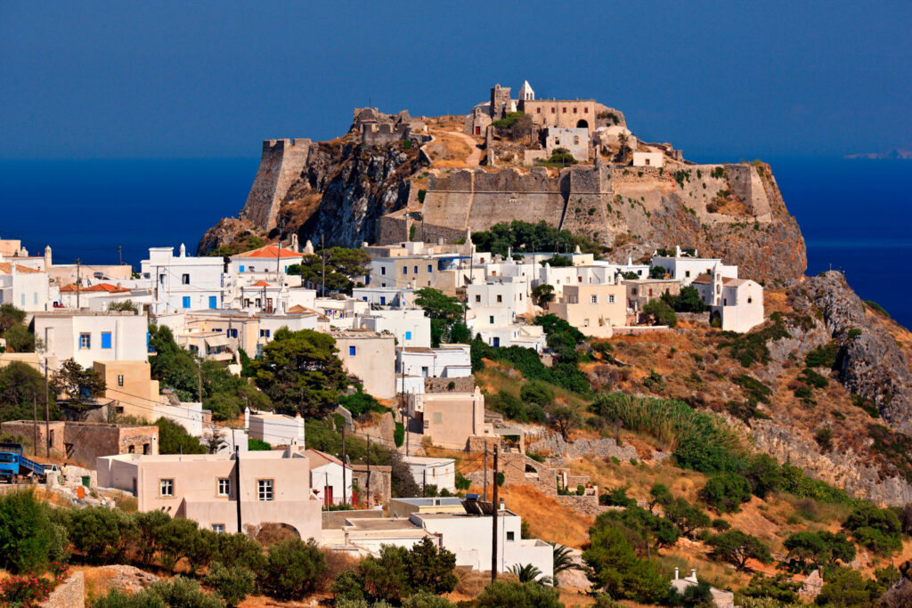 The Venetian castle above Chora, the capital of Kythira (or Cythera) island Greece
