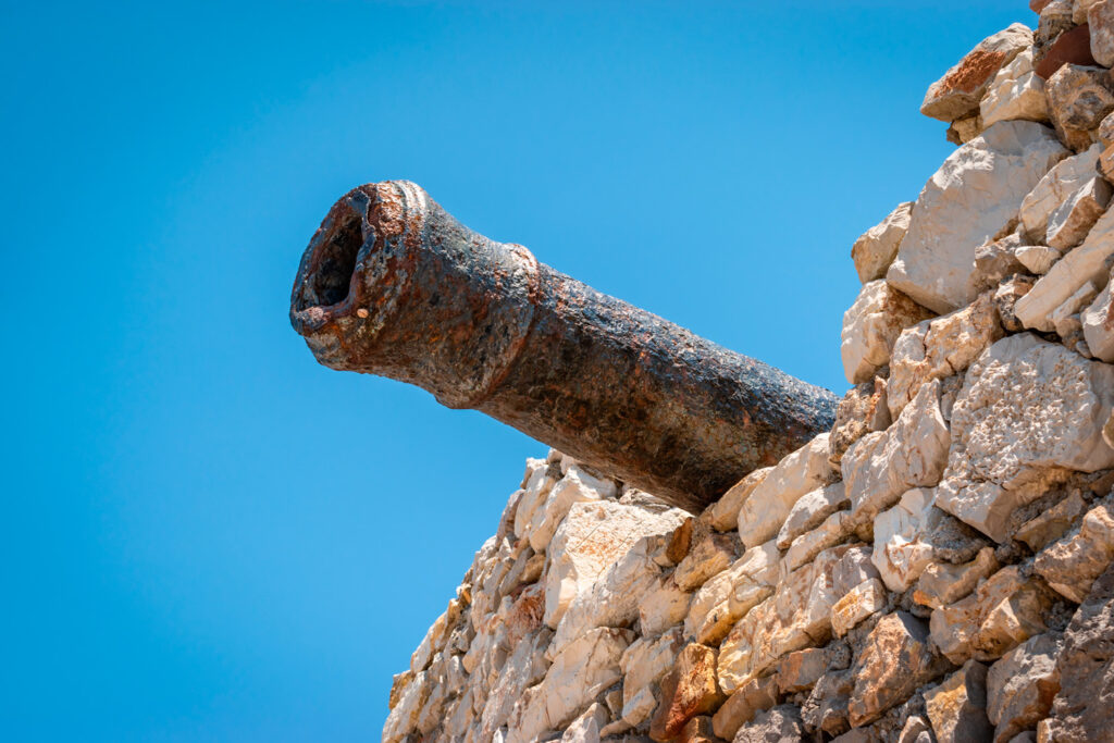 Cannon in the Venetian castle above Chora, the capital of Kythira (or Cythera) island Greece