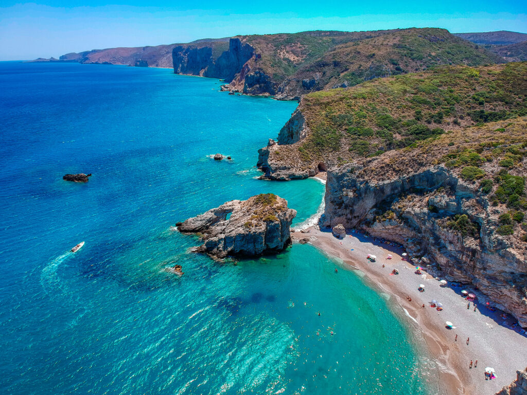 Rocky beach of Kaladi in Kythira island Greece