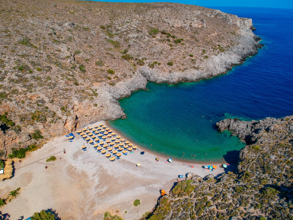 Chalkos beach in small rocky gulf in Kythira island Greece