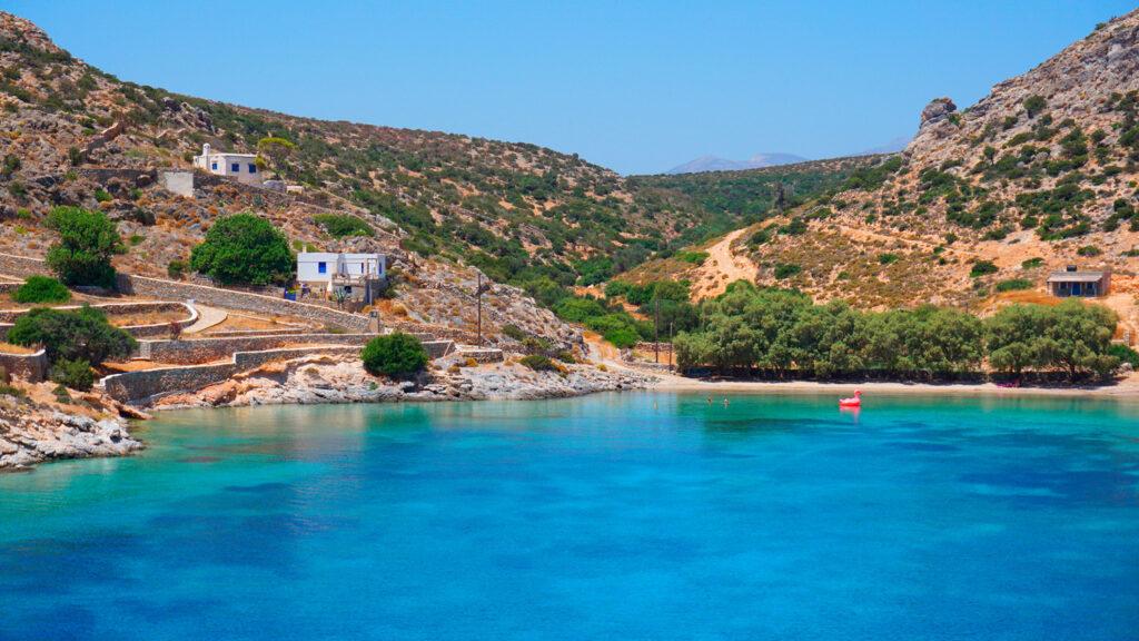 Mersini port in Schinoussa, Smaller Cyclades islands Greece