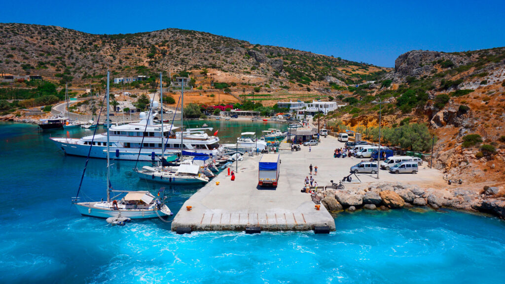Mersini port in Schinoussa, Smaller Cyclades islands Greece