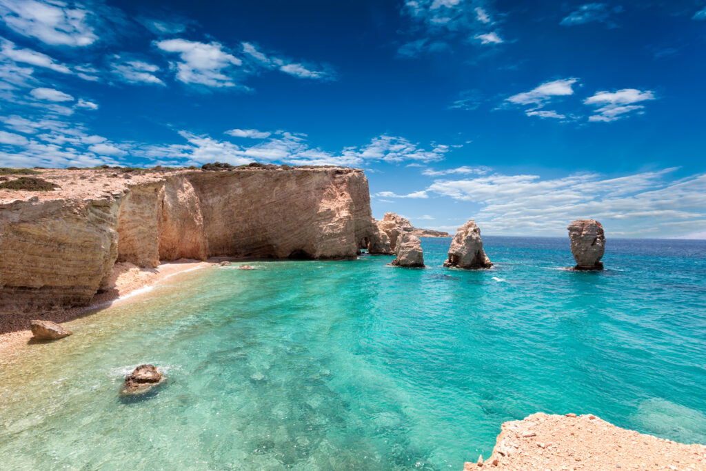 Paradise beach with emerald waters on the Island of Kato Koufonisi, Smaller Cyclades, Greece