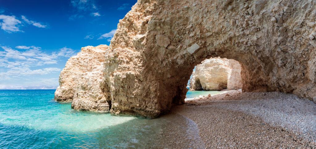 The arch on Kasteli Beach in Kato Koufinisi, smaller Cyclades Greece