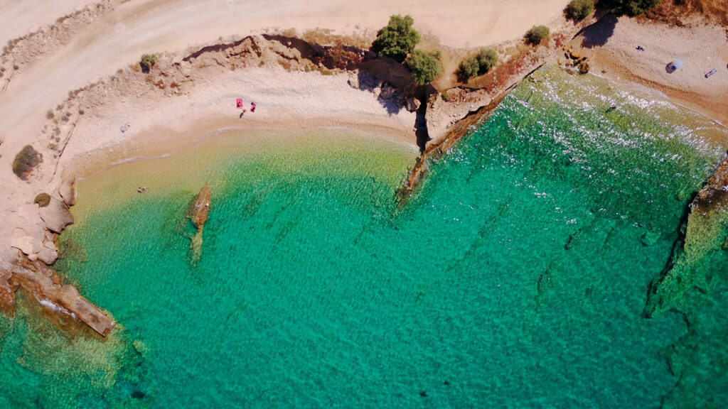 Beaches of Koufonisi island with tropical turquoise , emerald clear waters and rocky seascape, Cyclades, Greece