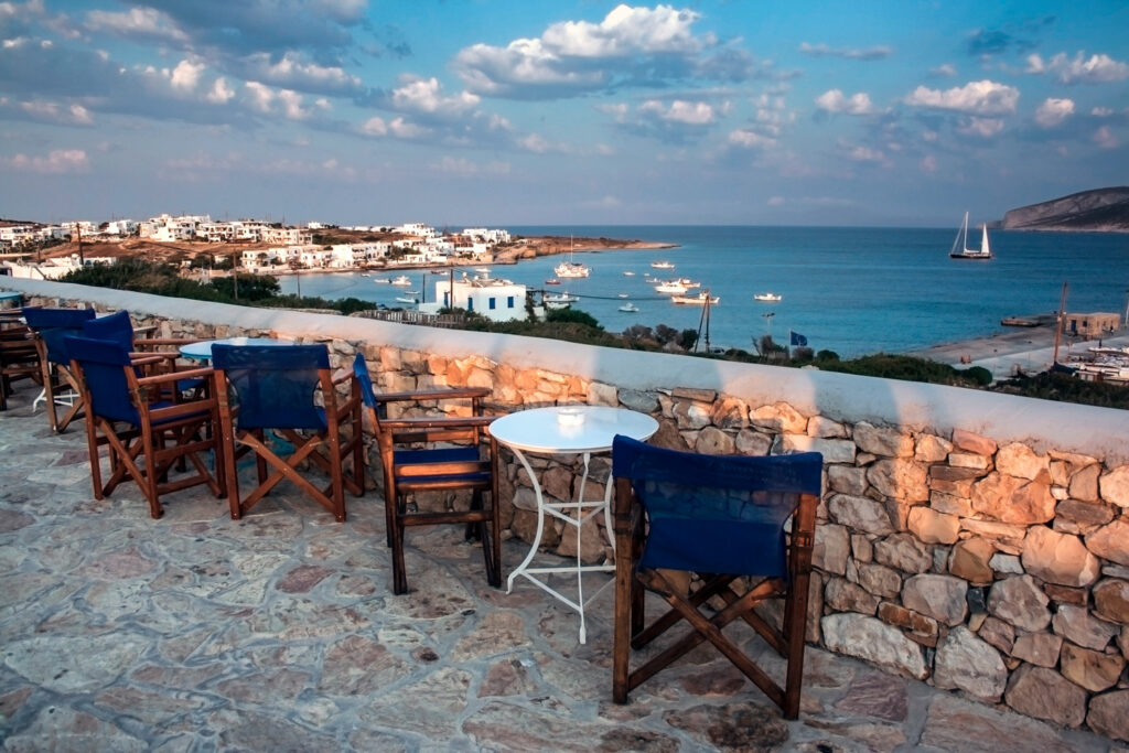 View from Chora towards the port and beach, Koufonisia islands, Cyclades Greece
