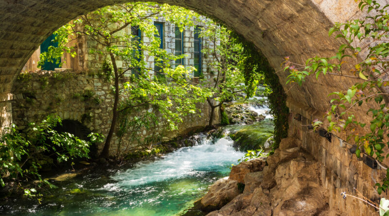Arched stone bridge at the old town of Livadeia in Boeotia, Central Greece