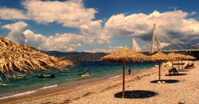 Beach near the Rio-Antirio bridge i Western Greece