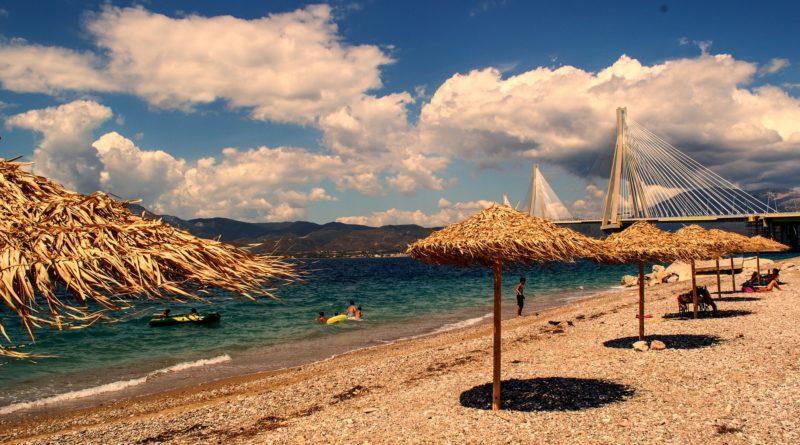 Beach near the Rio-Antirio bridge i Western Greece