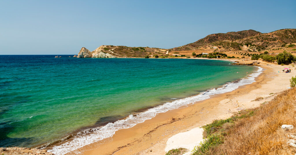 Mavrospilia beach in Kimolos Cyclades Greece