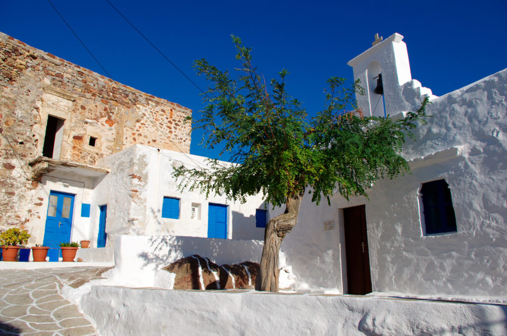 Old house built within the castle walls of Kastro in Chorio Kimolos Cyclades Greece