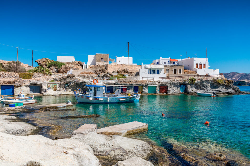 Traditional fishing village in Kimolos Cyclades Greece